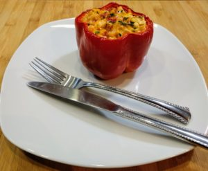Stuffed Spicy Red Peppers With Chicken, Cheese, Radishes and Cauliflower