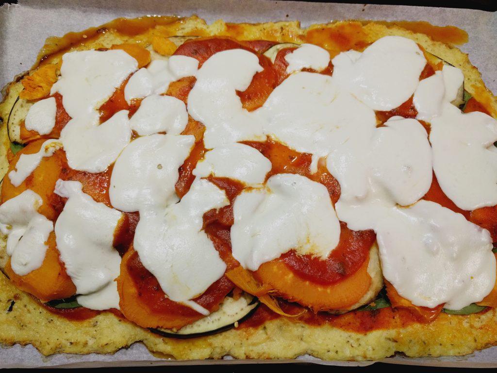 Cauliflower Flatbread Pizza with Eggplant, Sweet Potato, Mozzarella and Spinach Recipe