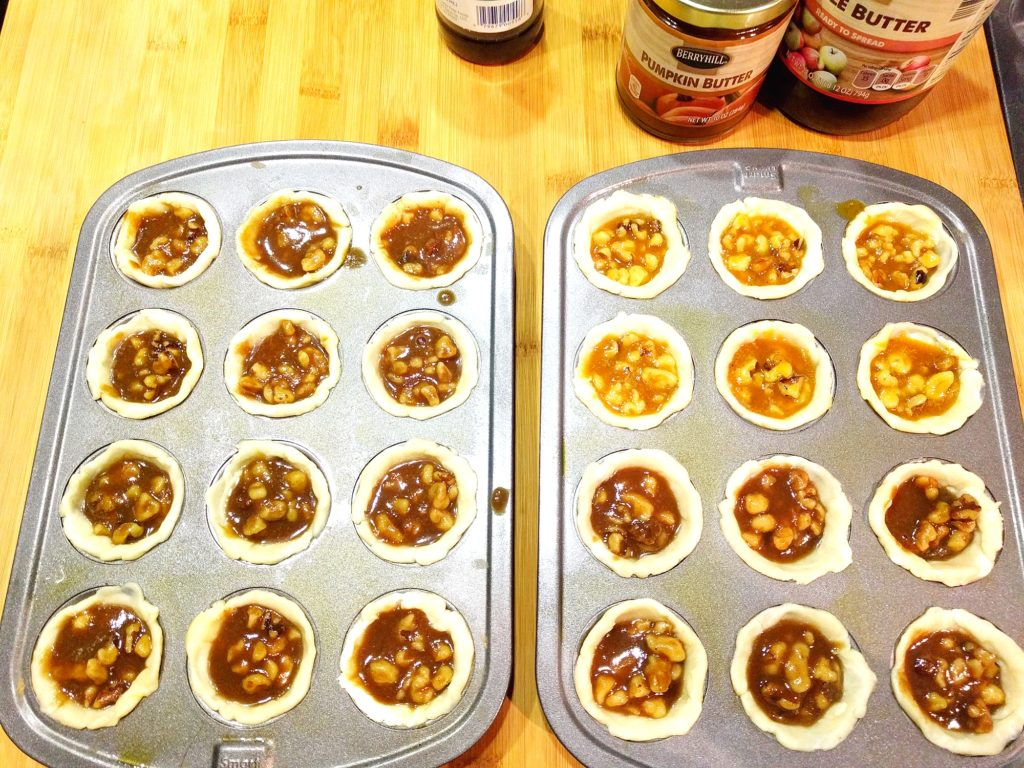Moms Pecan Golden Cups with Apple and Pumpkin Butter