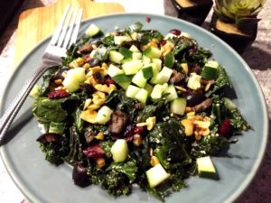 Cranberry Cucumber Walnut Cooked Kale Salad Recipe