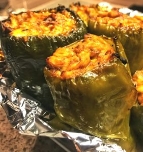 Oven Baked Pulled BBQ Chicken and Cheese Poblano Pepper Recipe