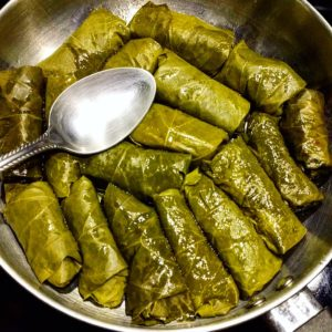 Basmati Rice Filled Dolmas with Lemon Juice, Olive chunks, Dill, Garlic and a bunch of spices